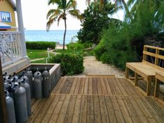Outdoor shower and on-site dive tanks for great shore diving at Cayman Sunset (http://www.caymanvacationcondo.com)