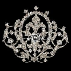 Victorian Vintage Crystal Bridal Brooch Pin Hair Clip (K4H4)