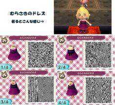 Animal Crossing New Leaf QR codes purple dress