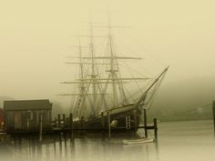 unknown ship moored up in the fog