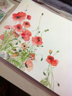 Poppies I love watercolor - its such an elegant medium. #watercolorarts