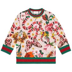 Gucci Gucci Garden Exclusive Sweatshirt ($950) ❤ liked on Polyvore featuring tops, hoodies, sweatshirts, sweaters, animal print sweatshirt, pink top, pink floral top, jersey top and floral print tops