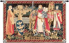 Woven in BelgiumHistory: King Arthur is a Belgian jacquard wall tapestry. This bit of medieval history depicts Arthur wielding his famous sword Excalibur as he