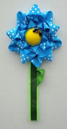 SALE  Hair Clip Barrette Holder  Blue Flower by OnceUponAPoodle, $9.95