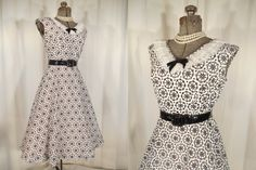 Fantastic 1950's vintage dress with black and white details. Love this dress!