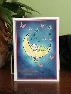 AmethyStar Crafting : The cutest baby card with Stampin Up Moon Baby