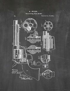 Mason Revolver Patent Art Poster Print by FrameAPatent on Etsy, $4.75