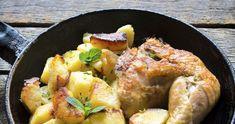 Muslos de #pollo asados con manzana salteada y salsa de miel. #recetas #palacios