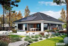 EX 11 (wersja C) soft - projekt domu - Archipelag Modern Bungalow House Plans, Modern Family House, Craftsman House Plans, Home Building Design, Home Design Plans, Building A House, Modern Tropical House, Tropical Houses, Village House Design