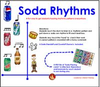 """Studens listen to a rhythmic pattern and pull down a """"Soda rhythm"""" to fill each beat box. Students may touch the """"hand"""" to check their work. A correct pattern is rewarded with a funny comment. A PDF file of Soda Can Cards is attached for the teacher to reproduce/laminate for whole class participation. Optional game ideas are included."""