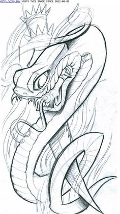Snake With Dagger Tattoo Sample