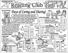 DECEMBER DAYS - OF CARING & SHARING - Includes: • December (Holidays, Charities, and Gift-Giving) Two-Page Activity Set • December Holidays and Customs Crossword Puzzle • Holiday Giving and Charity Crossword Puzzle • Happy Holidays Reading Log & Certificate