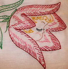 Vintage Embroidery Pattern Anthropomorphic Flower with cute little girl