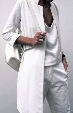 Chic Style - all white outfit with longline jacket & backpack