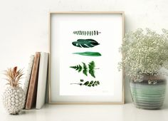 Green botanical art print from original watercolor painting by
