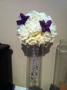 Rhinestone crystal ribbon bouquet vases centerpiece bling wedding great do it yourself fake flower center piece can omit the butterflies solutioingenieria Image collections