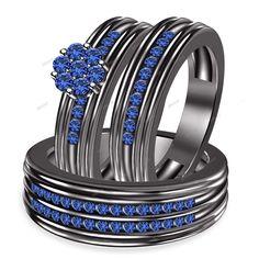 1.48CT Round Blue Sapphire 925 Silver Flower Shape Trio Engagement Ring Set 5-14