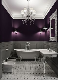 (I can't find the source of this image which is mighty annoying) I love the color scheme but rather in a bedroom or living room. Dark purple walls, gray wainscot, white ceiling and marble gray floor. Metal or silver details.