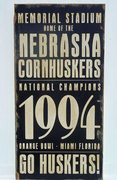 Typography Wood Sign-Nebraska Cornhusker Football 1994 Wall Decor. $85.00, via Etsy.