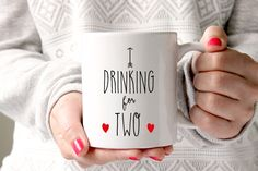 Drinking For Two Coffee Mug, Pregnancy Announcement