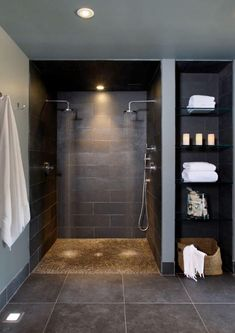 Bathroom Spa Bathroom Design, Pictures, Remodel, Decor and Ideas – page 7 (Monte's shower…no door to clean) homedecor remodeling Spa Bathroom Design, Bathroom Spa, Basement Bathroom, Vanity Bathroom, Budget Bathroom, Bathroom Faucets, Dark Floor Bathroom, Bathroom Shelves, Bathroom Cabinets