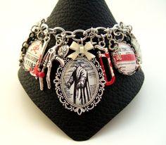 Plague Doctor Bracelet-Poison Bracelet-Gothic Bracelet-Mori-Beak Doctor-Altered Art Charm Bracelet-Handmade in the UK-Steampunk Bracelet by FragileEliteDesign on Etsy https://www.etsy.com/listing/221083289/plague-doctor-bracelet-poison-bracelet