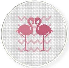 SALE Stitch Flamingo Love PDF Cross Stitch Pattern Needlecraft