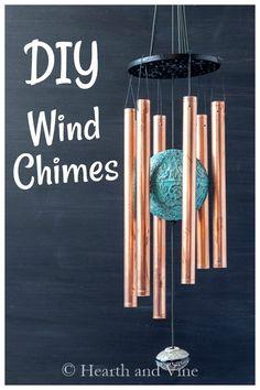 Wind Chimes Craft, Glass Wind Chimes, Diy Art Projects, Wood Projects, Ace Hardware, Handmade Copper, Bottle Crafts, Garden Art, Garden Ideas