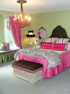 HGTV Teen Bedrooms  Shabby Chic Pink  Creating a shabby chic look on a budget was what RMS user amiewill did for her daughter's bedroom. Most of the bright pink and green accessories were handmade - Click image to find more home decor Pinterest pins