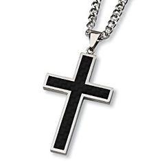 Black Carbon Fiber and Polished Stainless Steel Cross Necklace on 24 Inch Chain  http://electmejewellery.com/jewelry/necklaces/black-carbon-fiber-and-polished-stainless-steel-cross-necklace-on-24-inch-chain-com/