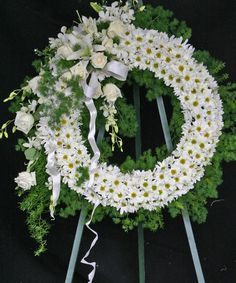 A Spectacular White Funeral Wreath - Flowers Los Angeles | Los Angeles Florist | Product