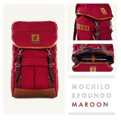 """MOCHILO SEGUNDO MAROON  Rp. 275.000  FREE SHIPPING ALL OVER INDONESIA  Dimension: 31cm x 14cm x 50 cm 21 Litre 15"""" Laptop Sleeve  Material: High Quality Canvas WR Faux Leather Accessories Leather Accessories YKK Zipper"""