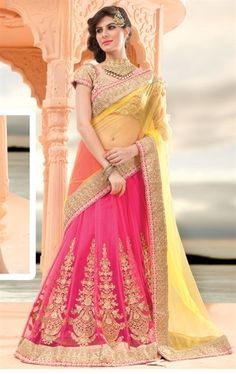 Posh Persian Rose Pink and Yellow Lehenga Saree Online