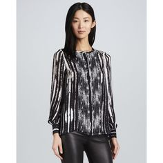 Haute Hippie Women's Printed Long-Sleeve Blouse - Black/Swan (X-SMALL) ($113) ❤ liked on Polyvore featuring tops, blouses, print blouse, striped blouse, stripe top, loose blouse and bohemian blouses