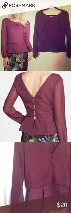 ASTR Nordstrom Jacquard Button Back Peplum Top Plum colored peplum top with long gauzy sleeves. Really cute with jeans or a skirt for a night out. In excellent condition. ASTR Tops Blouses