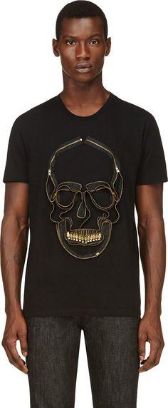 Alexander McQueen - Black Embroidered Zipper Skull T-Shirt