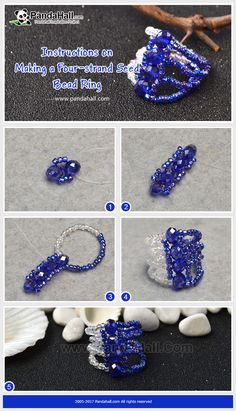How to make a  Four-strand Seed Bead Ring With only seed beads and fishing thread nylon wires, the ring can be made in a few minutes! The delicate pattern of the ring will surprise you!