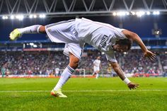 Marcelo Vieira of Real Madrid CF celebrates after scoring his team's fourth goal during the Copa Del Rey Round of 32 first leg match at Power8 Stadium on October 29, 2014 in Barcelona, Spain.