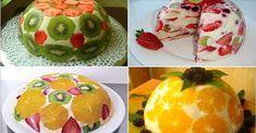 Vă prezentăm o rețetă de tort deosebit de delicios și aspectuos. Acesta este un desert fără coacere, ce se prepară uimitor de simplu și rapid. În rezultat obțineți un desert de casă fascinant, ce poate face concurență oricărui alt desert din comerț. Doar alegeți fructele preferate și bucurați-i pe cei dragi cu o adevărată capodoperă culinară. INGREDIENTE -500 g de smântână (sau frișcă 35 %) -300 g de fructe după gust -200 g de biscuiți (sau pandișpan din comerț) -200 g de zahăr -30 g de… Fruit Recipes, Dessert Recipes, Cooking Recipes, Delicious Desserts, Yummy Food, Tasty, Elegant Desserts, Different Cakes, Sweet Pastries