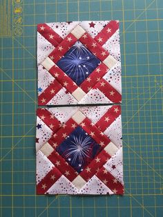 Diamond Tile blocks Bonnie Hunter pattern from May/June 2018 Quiltmaker magazine Diy Quilt, Quilt Blocks Easy, Flag Quilt, Patriotic Quilts, Blue Quilts, Mini Quilts, Édredons Cabin Log, Quilt Of Valor, Star Quilt Patterns