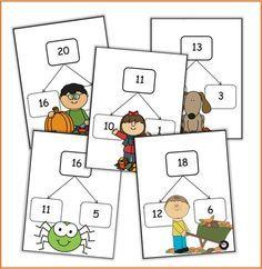 Vorig jaar had ik gelijkaardige kaarten in thema lente gemaakt. Het duurt nog even voordat de kinderen van het eerste deze kaarten kunnen gebruiken. Dus heb ik ze aangepast om bij het huidige seizo... Classroom Labels, Math Classroom, Back 2 School, Pre School, Math Numbers, Play To Learn, Kids Education, Math Centers, First Grade