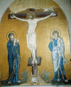 MOSAIC: Crucifixion, Church of the Dormition, Daphni, Greece. LINK for more images of the monastery's mosaics. Early Christian, Christian Art, Art Through The Ages, Christian Religions, Les Religions, Byzantine Art, Iron Work, Hagia Sophia, Orthodox Icons