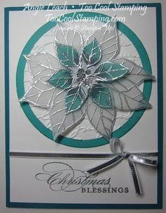 handmade Christmas card ... stained glass poinsettia .... silver embossing on translucent vellum ... markers colored on back ... white and aqua with silver embossing and ribbon ... lovely card!! ... Stampin' Up!