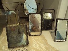 vintage mirrors with attached frames Old Mirrors, Vintage Mirrors, Vintage Frames, Mirror Image, Mirror Mirror, Flea Market Style, Through The Looking Glass, Shabby Chic, Men's Grooming