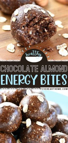 These Chocolate Almond Energy Bites are easy to make as they are yummy! Packed with protein and wholesome goodness, they are a healthy breakfast idea or snack for your kids' insatiable appetites. Give this recipe a try and find them polishing off the whole batch! Vegan Snacks, Healthy Snacks, Snack Recipes, Dessert Recipes, Healthy Recipes, Easter Recipes, Healthy Options, Brunch Recipes, Yummy Recipes