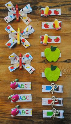 Back to School Hair Bow, First Day of School Hair Accessory, Apple Crayon Pencil Scissors Ribbon, Alligator Clip, Great Party Favors