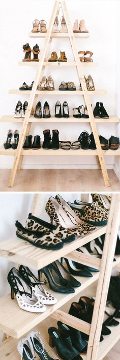 DIY Ladder Shoe Shelf | Click Pic for 18 DIY Shoe Storage Ideas for Small Spaces | DIY Shoe Organization for Small Closets