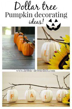 Dollar Tree pumpkin craft makeover. #debbiedoos - Fall and an Autumn branch, too cute!