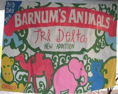 Circus theme bid day banner.