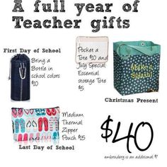 Get a whole year's worth of teacher gifts now! www.MommaNeedsaNewBag.com